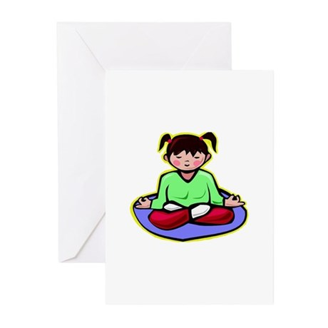 Little yoga girl Greeting Cards (Pk of 10)