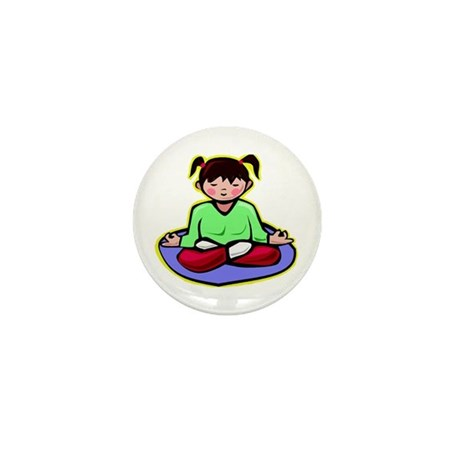 Little yoga girl Mini Button