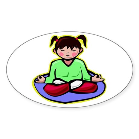 Little yoga girl Oval Sticker