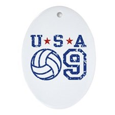 USA Volleyball 09 Oval Ornament