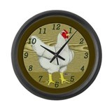 White Hen Large Wall Clock