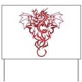 Red Tribal Dragon Yard Sign
