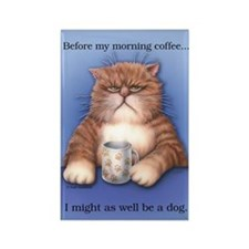 Coffee Cat Rectangle Magnet