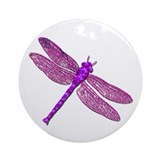 Pink Dragonfly Ornament (Round)