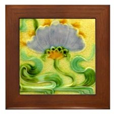 Art Nouveau Floral Framed Wall Tile