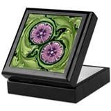 Art Nouveau Flowers Tile Black Lacquer Jewel Box