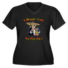 Fiests Sammy Women's Plus Size V-Neck Dark T-Shirt