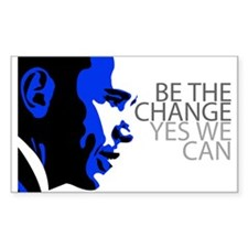 Obama - Change - We Can - Blue Rectangle Decal