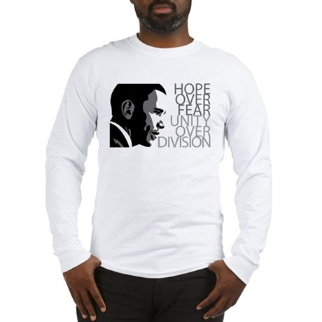 Obama - Hope Over Division - Grey Long Sleeve T-Sh