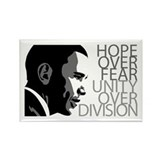 Obama - Hope Over Division - Grey Rectangle Magnet