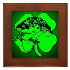 Shamrock Girl Framed Tile