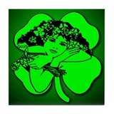 Shamrock Girl Tile Coaster