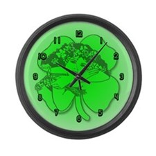 Shamrock Girl Large Wall Clock