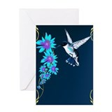 Humming Bird In Blue Greeting Card