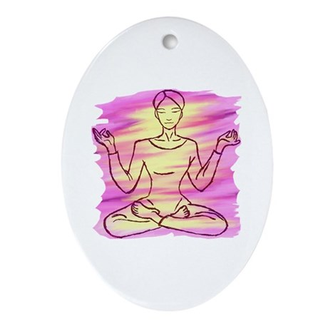Pretty Yoga Oval Ornament