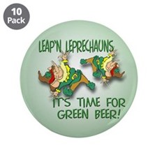 "Green Beer 3.5"" Button (10 pack)"