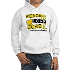 PEACE LOVE CURE Childhood Cancer Hoodie