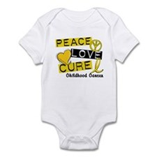 PEACE LOVE CURE Childhood Cancer Infant Bodysuit