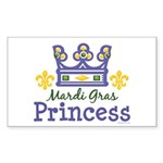 Mardi Gras Princess Rectangle Sticker 50 pk)