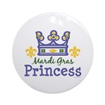 Mardi Gras Princess Ornament (Round)