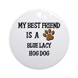 My best friend is a BLUE LACY HOG DOG Ornament (Ro