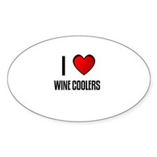 I LOVE WINE COOLERS Oval Decal