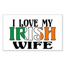 I Love My Irish Wife Rectangle Decal