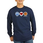 Peace Love Basketball Long Sleeve Dark T-Shirt