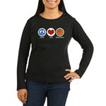 Peace Love Basketball Women's Long Sleeve Dark T-S