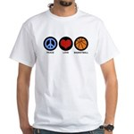 Peace Love Basketball White T-Shirt
