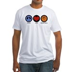 Peace Love Basketball Fitted T-Shirt