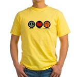 Peace Love Basketball Yellow T-Shirt