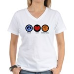 Peace Love Basketball Women's V-Neck T-Shirt