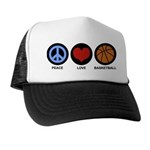 Peace Love Basketball Trucker Hat