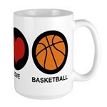 Peace Love Basketball Large Mug