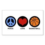 Peace Love Basketball Rectangle Sticker