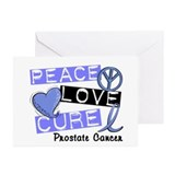 PEACE LOVE CURE Prostate Cancer Greeting Cards (Pk