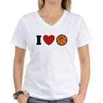 I Love Basketball Women's V-Neck T-Shirt