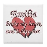 Emilia broke my heart and I hate her Tile Coaster