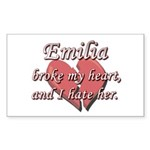 Emilia broke my heart and I hate her Sticker (Rect