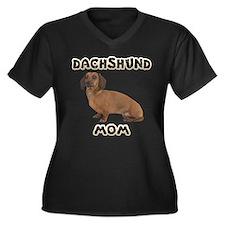 Dachshund Mom Women's Plus Size V-Neck Dark T-Shir