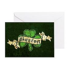 Retro Boston Shamrock Greeting Card