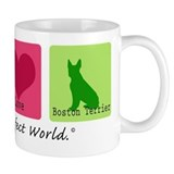 Peace Love Boston Terrier Small Mugs