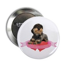 """Wirehaired Dachshund Valentine 2.25"""" Button"""