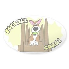 Cartoon Corgi Flyball Oval Decal