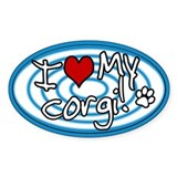 Hypno I Love My Corgi Oval Sticker Blue