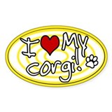 Hypno I Love My Corgi Oval Sticker Ylw
