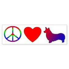 Peace, Love, Pembroke Welsh Corgi Bumper Car Sticker