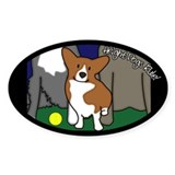 Corgi Height Dog Oval Decal
