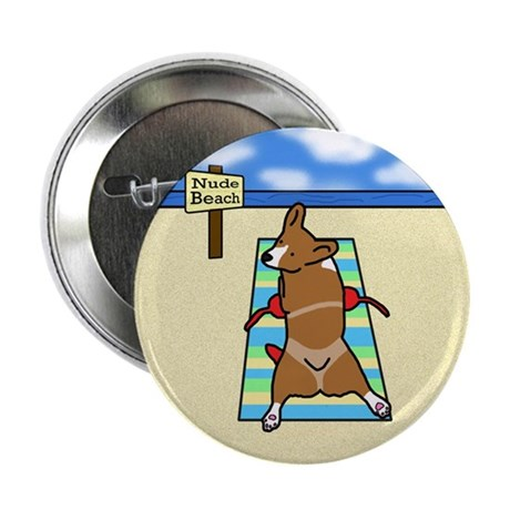"Nude Beach Corgi 2.25"" Button (10 pack)"